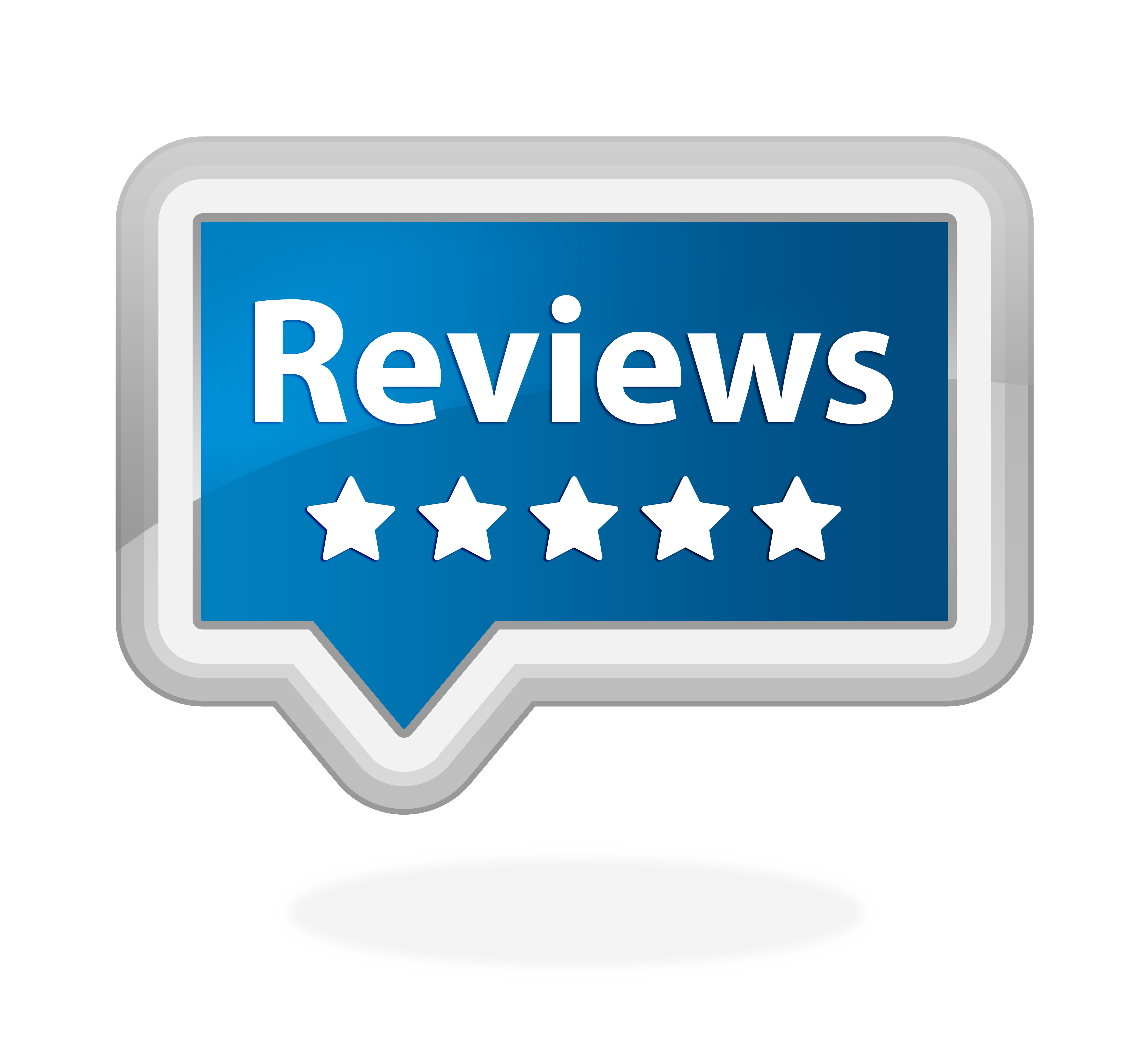 Speech bubble with the word reviews
